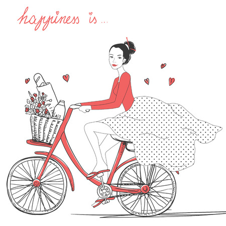 Bicycle girl with a basket full of flowers, milk and bread. Vectores