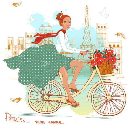Bicycle girl with a basket full of flowers, milk and bread. Paris architecture in the background. Vector