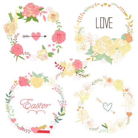 Floral Frame Collection. Set of retro styled peonies arranged at the shape of the wreath perfect for wedding invitations and birthday cards Vector