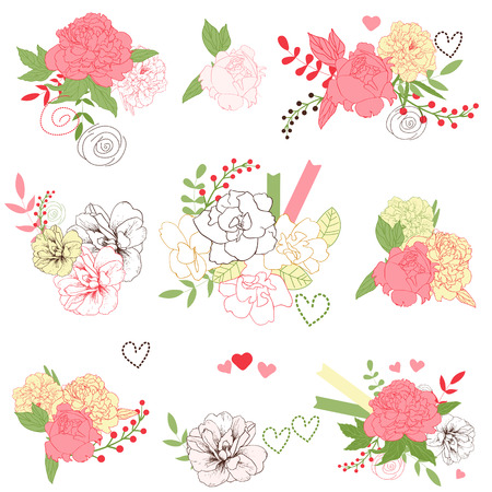 Set of cute floral bouquets, retro peonies, isolated Vector