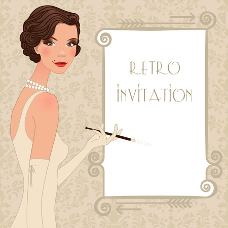 Retro background with flapper girl,  retro party invitation design in 20s style Vector