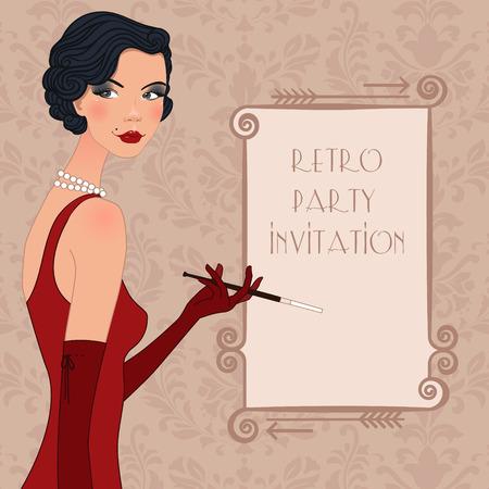 vintage lady: Retro achtergrond met vinmeisje, retro ontwerp van de partij in 20's stijl