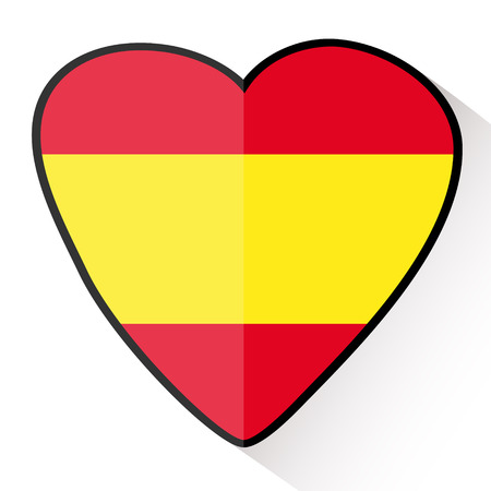 Travel Spain, heart shape with the flag of Spain. Flat style icon Vector