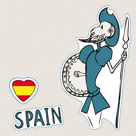 Travel Spain, doodles symbols of Spain, Don Quixote, space for text.