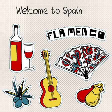 Travel Spain Doodles Symbols Of Spain Royalty Free Cliparts