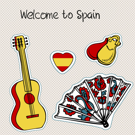 Travel Spain, doodles symbols of Spain, flamenco. Vector