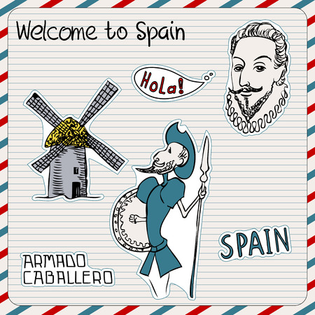don quixote: Travel Spain, doodles symbols of Spain.