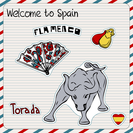 castanets: Travel Spain, doodles symbols of Spain.