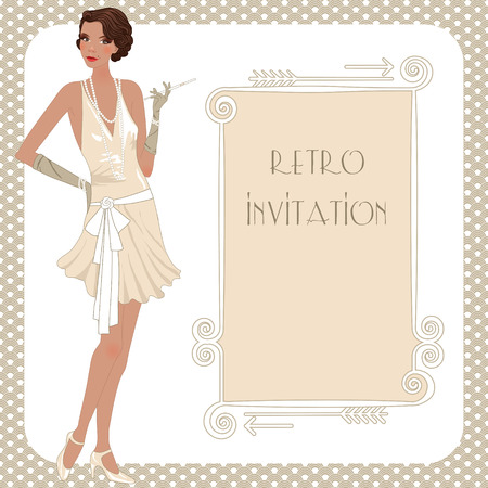 Retro background with flapper girl,  retro party invitation design in 20's style Vector