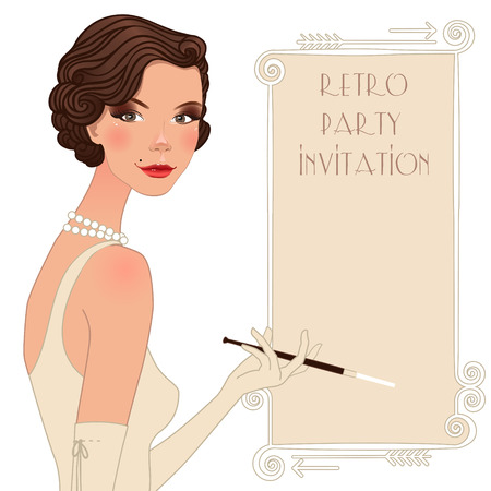 charleston: Retro background with flapper girl,  retro party invitation design in 20s style