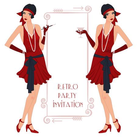 flapper: Fondo retro con chica de la aleta, diseño de la invitación del partido retro estilo años 20 Vectores