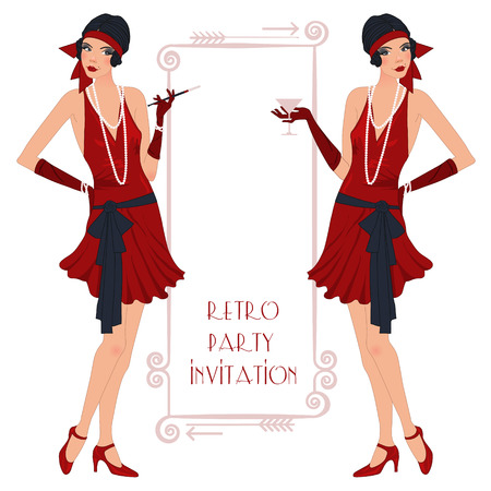 Retro background with flapper girl,  retro party invitation design in 20s style