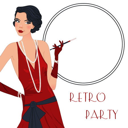 gangster girl: Retro background with flapper girl,  retro party invitation design in 20s style