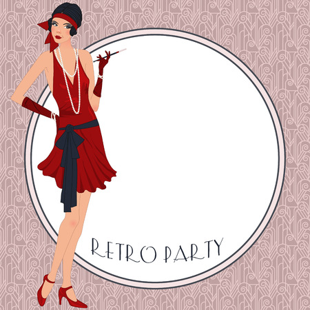 Retro background with flapper girl,  retro party invitation design in 20s style Vector