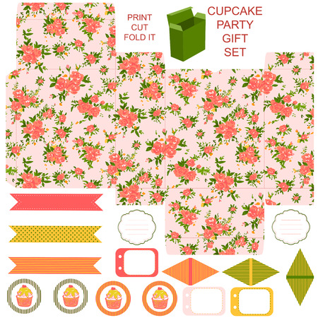 dieline: Gift box with empty labels template. Party kit. Abstract floral shabby chic pattern, classic country roses. Empty label.