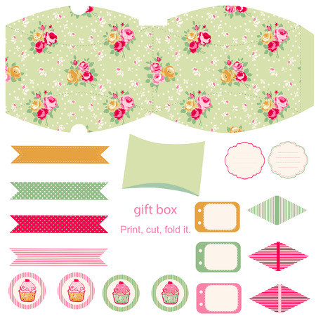 diecut: Party set. Gift box template.  Abstract floral shabby chic pattern, classic country roses. Empty labels and cupcake toppers and food tags.  Illustration