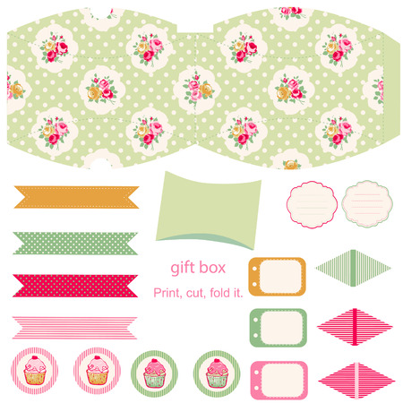 favor: Party set. Gift box template.  Abstract floral shabby chic pattern, classic country roses. Empty labels and cupcake toppers and food tags.  Illustration