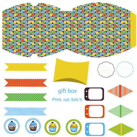 Party set. Gift box template.  Abstract geometric pattern. Empty labels and cupcake toppers and food tags.