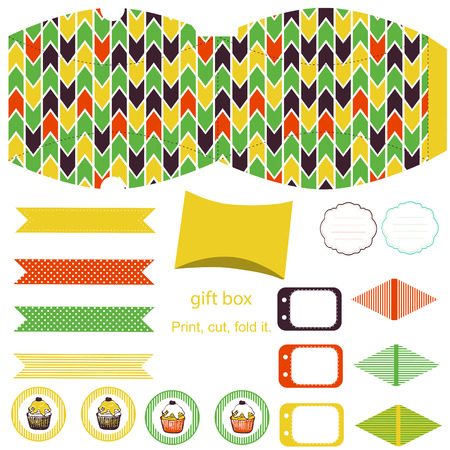 Party set. Gift box template.  Abstract geometric pattern. Empty labels and cupcake toppers and food tags.  Vector