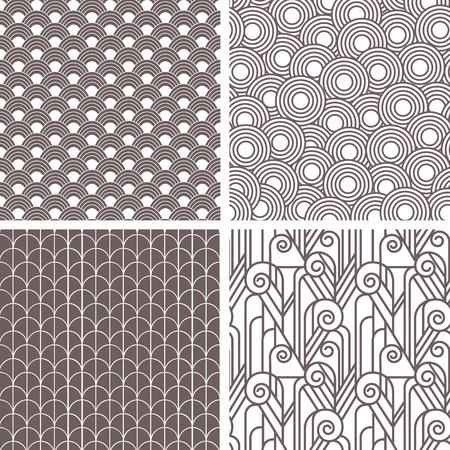 レトロなアールデコのシームレスなパターンのセット