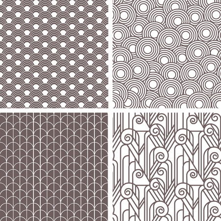 Set of retro art deco seamless patterns Illustration