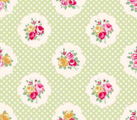 Beautiful Seamless rose pattern, polka dot background, illustration.  Ideal for printing onto fabric and paper or scrap booking. Pink, yellow and green color. Cottage shabby chic style. Vector