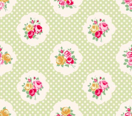 wzorek: Piękny wzór, bez szwu wzrosła polka dot tle, ilustracji. Idealna do druku na tkaninie i papier lub rezerwacji złomu. Różowy, żółty i zielony kolor. Domek w stylu shabby chic.