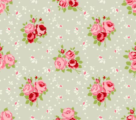 Shabby Chic Rose Muster und nahtlose Hintergründe Illustration