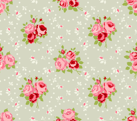 seamless: Shabby Chic Rose vzory a bezešvé pozadí Ilustrace