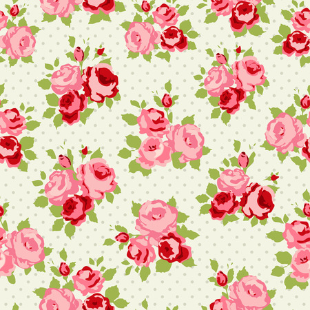Shabby Chic Rose Pattern and seamless background  イラスト・ベクター素材