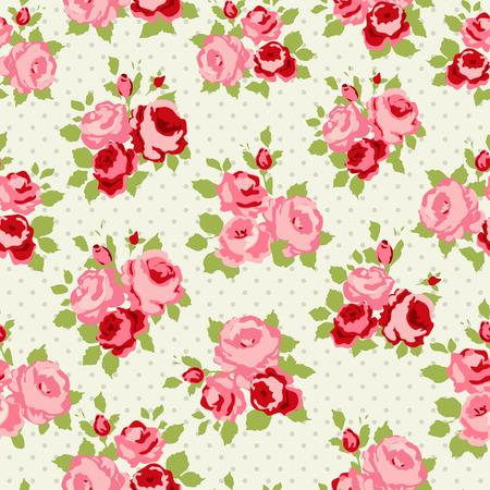 Shabby Chic-Rosen-Muster und nahtlose Hintergrund Illustration
