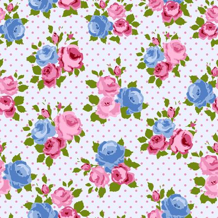 pattern sans soudure: Shabby Chic Rose Patterns et de milieux sans soudure Illustration