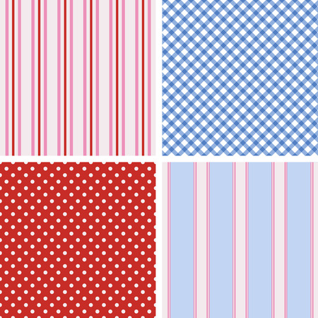 Set of four cute seamless backgrounds Vector
