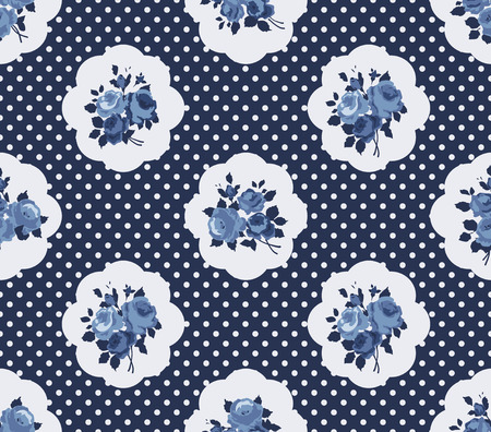 english rose: Shabby Chic Rose Pattern and seamless background Illustration
