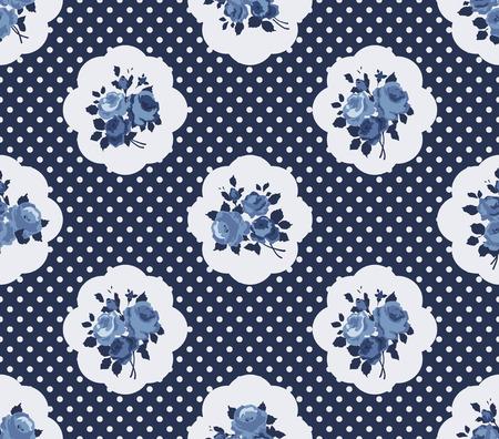 Naadloze: Shabby Chic Rose Pattern en naadloze achtergrond