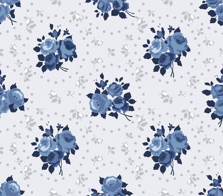 Shabby Chic Rose Pattern and seamless background Illustration