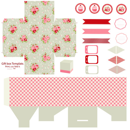 Party set. Gift box template.  Abstract floral shabby chic pattern, classic country roses. Empty labels and cupcake toppers and food tags.  Illustration
