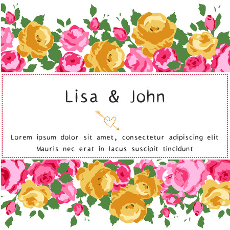 Abstract roses shabby-chic background with space for text. Wedding, birthday, celebration card template. Vector