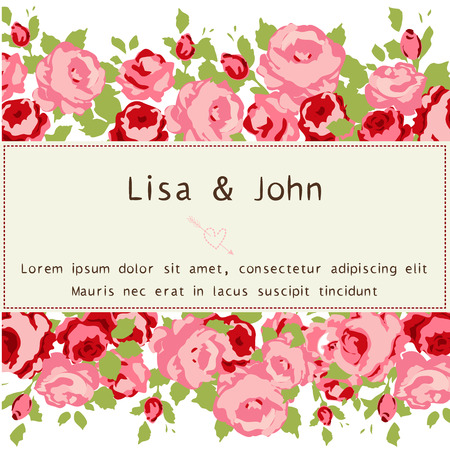 Abstract roses shabby chic background with space for text. Wedding, birthday, celebration card template.