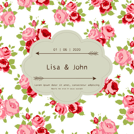 Abstract roses shabby chic background with space for text. Wedding, birthday, celebration card template. Vector