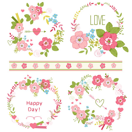 Set of cute floral bouquets, retro roses, isolated. Wedding, birthday, celebration card template. Vector