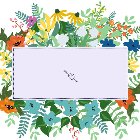 Abstract flowers and herbs background with space for text. Wedding, birthday, celebration card template. Vector