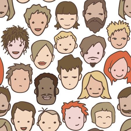 ragazza innamorata: Folla seamless pattern - illustrazione