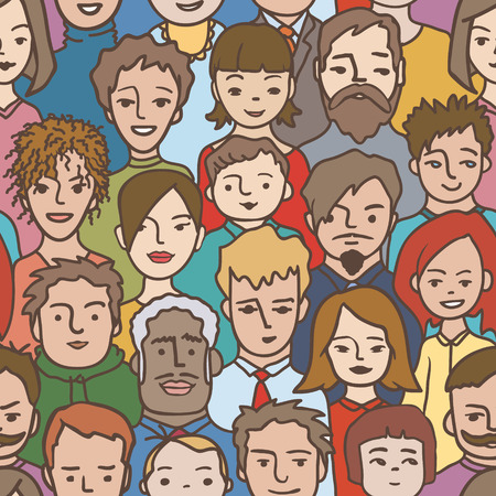 people in row: Crowd seamless pattern - Illustration