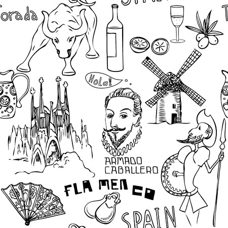 don quixote: Travel Spain, Pattern with doodles symbols of Spain.