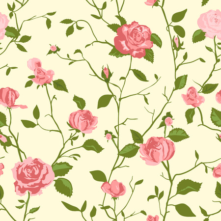 shabby chic background: Shabby Chic Rose Pattern and seamless background. Ideal for printing onto fabric and paper or scrap booking. Cottage chic style.
