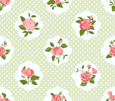Shabby Chic Rose Pattern and seamless background. Ideal for printing onto fabric and paper or scrap booking. Cottage chic style.