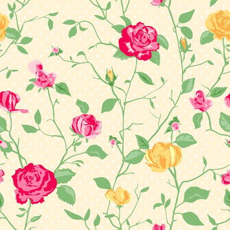 simple flower: Shabby Chic Rose Pattern and seamless background. Ideal for printing onto fabric and paper or scrap booking. Cottage chic style.