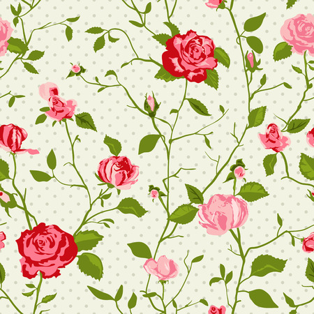 romanticist: Shabby Chic Rose Pattern and seamless background. Ideal for printing onto fabric and paper or scrap booking. Cottage chic style.