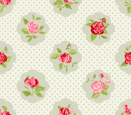 Shabby Chic Rose Pattern and seamless background. Ideal for printing onto fabric and paper or scrap booking. Cottage chic style. Vector